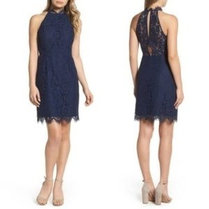 BB Dakota Cara High Neck Lace Dress Navy, sz 6 NWT